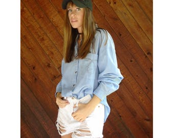 Oversized Chambray l/s Shirt - Vintage 90s - M/L Tall