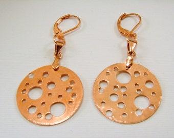 Copper Holy Disk Earrings, Copper Earrings, Copper Disk Earrings