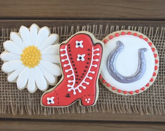 Cowgirl Birthday Party Favors / Cowgirl Favors / Western Party Decorations / Western Party Favors / Western Sugar Cookies - 12 cookies