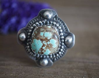Sky Cloud Turquoise Ring. Turquoise Jewelry. Statement Ring. Sterling Silver Ring. Handmade Jewelry. Bohemian Jewelry.