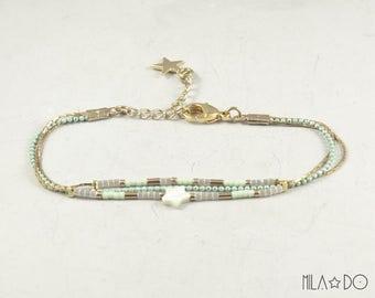 Maho bracelet, gold and mint || Dainty bracelet