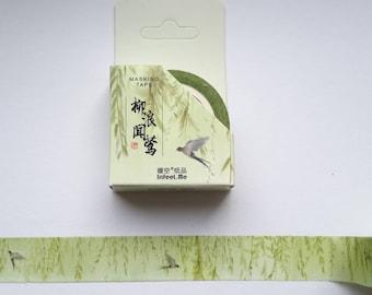green branches birds scenery washi tape, birds, branches, green washi scenery, MT, 15 mm x7 m, washi, tape, journal, scrapbooking