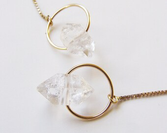 Boucles d'oreilles des chaîne d'or de diamant Herkimer