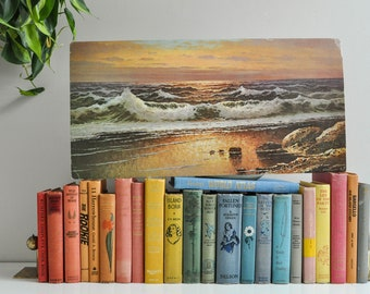 Vintage Beach Sunset Lithograph Wall Hanging