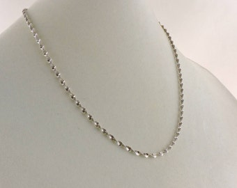 """Sterling Silver Twisted Herringbone Necklace 20"""" x 3mm"""