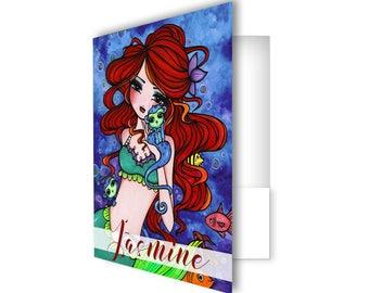 Mermaid folder, personalized school folder, girl folder, custom folder, pocket folder, back to school, personalized school supplies - Bella