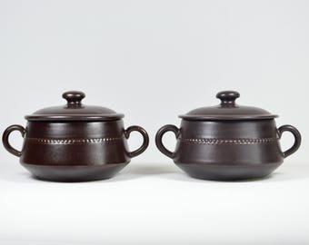 2. Swedish ceramic containers HÖGANÄS dark brown