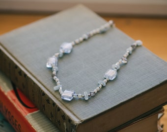Aquamarine, labradorite, opalite and blue crystal necklace
