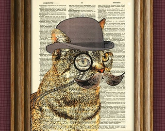 Cat Art Print Dandy Cat With Mustache and monocle illustration beautifully upcycled Dictionary Page book art print