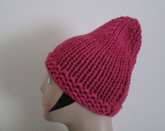 Dusty Pink Pointed Beanie Knitted by SuzannesStitches, 6-12 month Baby Girl Hat, Toddler Pink Beanie, Baby Girl Pink Hat, Girls Pink Beanie