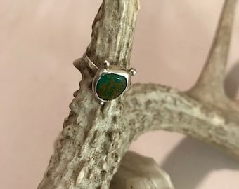 Trio Green turquoise ring