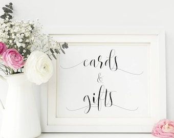 Cards and Gifts Wedding Sign/ Cards and Gifts Sign Wedding Table Sign 5x7 or 8x10 Wedding Reception Sign (without frame)