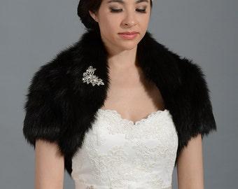Black faux fur bolero faux fur shrug FB003-Black