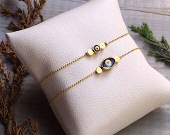 Evil Eye Bracelet, Minimal Bracelet, Tiny Bracelet, Gold Plated Bracelet, Wholesale Bracelet, Women Bracelet, Luck Bracelet, Charm Bracelet