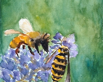 Yellow Jacket Watercolor Print