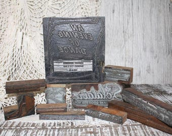 DESTASH! Vintage Letterpress Print Blocks, Old Advertising Printing Block, wood block, printing press, print art,