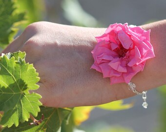 Preserved flowers bracelet Marianne for your wedding - flower bracelet