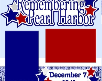 Scrapbook Page Kit Remembering Pearl Harbor Premade Scrapbook Layout 2-page 12X12