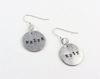 Write and Edit Earrings (Jewelry Gift for Writer, Editor)