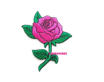 Rose Flower Pink New Sew / Iron On Patch Embroidered Applique Size 6.5cm.x7.9cm.