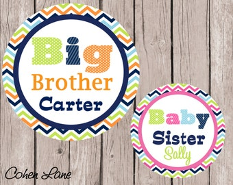 Printable Personalized Big Brother and Baby Sister Iron On Transfer Design.  Sibling Iron Ons. Big Brother Iron On. Baby Sister Iron On