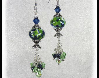 2281, Blue, green and white lampwork glass earrings with green Peridot crystals and navy pearls, long earrings, dangles, lampwork beads