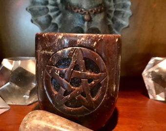 Pentacle Soap Stone Mortar and Pestle with Three Sided Pentacle, Magikal Kitchen Tools, Herbs, Incense