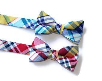 Boys Bow Ties~Boys Bow Tie~Boys Plaid Bow Ties~Cotton Bow Tie~Church Tie~ Wedding~Ring Bearer~Preppy Bow Tie~Yellow Bow Tie~Navy Bow Tie