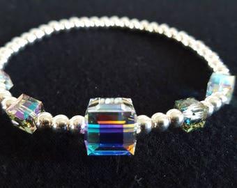 Swarovski Crystal Cubes And Sterling Silver Beaded Bracelet
