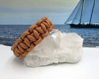 Gold Brown Paracord Bracelet, Survival Gift for Hikers, Campers, Boaters, Rock Climing, Mountian Biking, Anyone that Loves the Outdoors,