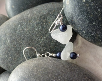 Sea glass Earrings with Blue beads