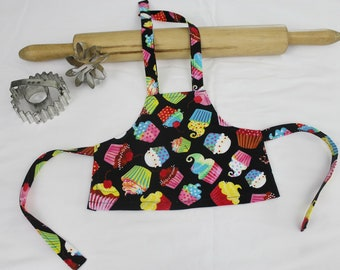 Colorful Cupcakes on Black Doll Apron