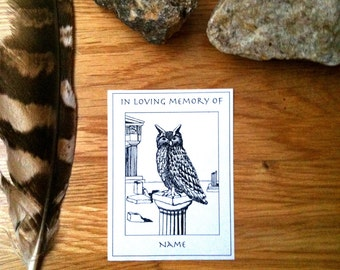 In Loving Memory of Bookplates Greek Owl 50 Personalized Ex Libris Booklabels