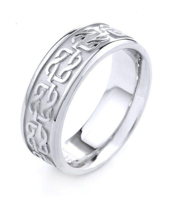 White Gold Celtic Band Celtic Knot Ring Mens Jewelry Celtic