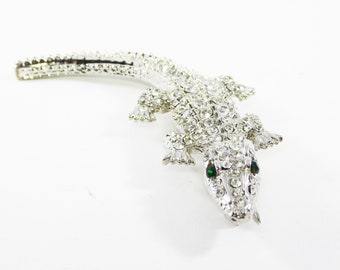 Clear Rhinestone Lizzard Brooch Green eyed Gekko Pin Clear Rhinestones Vintage 1980s 1990s Reptile Jewelry Animals, Creatures & Critters