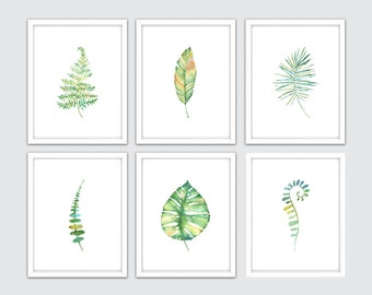 Watercolor Tropical Leaf Print Set of 6, Ideal for Your Tropical Leaf Décor