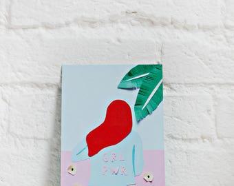 Art Card, Wall Art, Girl Power, Design, Illustration, Floral Card, Birthday Card, Greeting Card, Arty Card, Art Greeting Card, Paper Collage