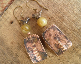 "Tribal earrings-Rustic "" Imprint "" handcraft hammered brass pendant-patinated-jasper and brass small bird"