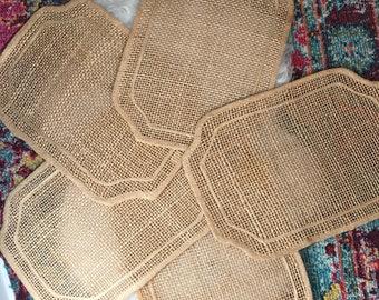 Set of 5 Woven Placemats/Hemp Fiber Handmade Placemats/Vintage Woven Placemats/Boho Placemats/Natural Fiber Placemats