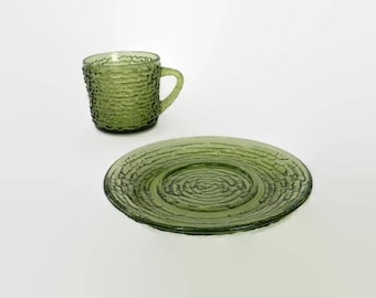 Mid Century Anchor Hocking Avocado Green Glass Cups, Saucers, Make Your Own Set