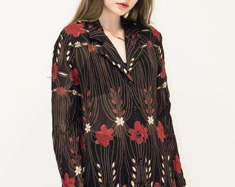 VINTAGE Black Floral See Through Retro Shirt