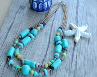 Necklace / handmade / blue / green / brown / hanmade / polymer clay / Made in Italy