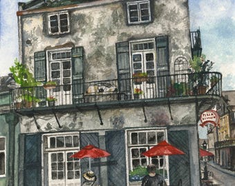 Giclee Print of an Original Gouache Painting/ New Orleans Print/ French Market Place