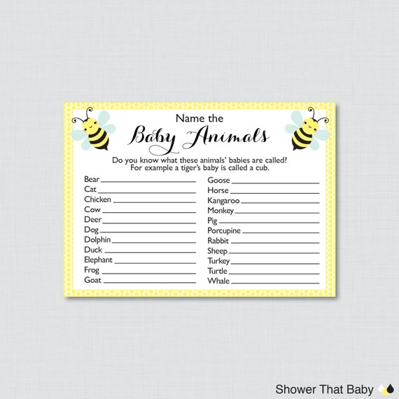 Baby Shower Game Name The Baby Animal: Bumble Bee Baby Animal Name Game Baby Shower Baby Animal