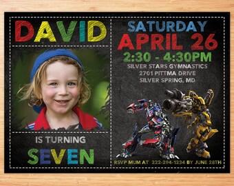 Optimus Prime Birthday Invitation Transformer Birthday