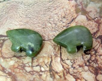 Green Jadite  Zuni Bear Beads  Pair for earrings Dream catchers Jewelry Jade Jadite  Dreamcatcher or earrings Teen Size 12 x 18 mm