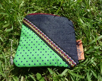Small coin purse with green polka dots