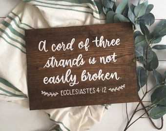 Hand Painted A Cord of Three Strands - Ecclesiastes 4:12 Scripture Wood Sign with Laurels, hand painted, rustic wedding or anniversary gift