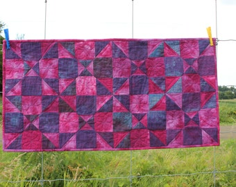 Quilted Table Runner  Spinning Nines in Hand Dyed Pink and Purple