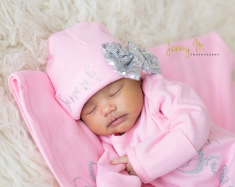 Silver Bow on Pink Newborn Girl hat, newborn baby hat, pink newborn hat, Newborn baby girl beanie, girl hat, take home hat, newborn prop